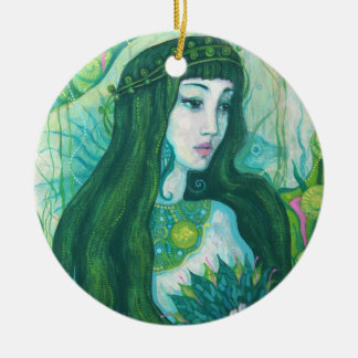 Mermaid with Lotus Flower, underwater fantasy art Ceramic Ornament