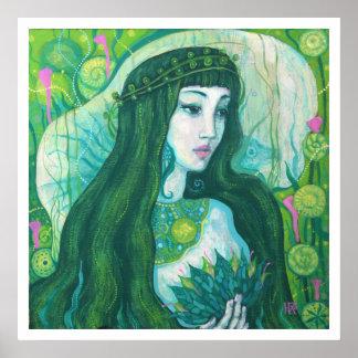 Mermaid with Lotus Flower, underwater fantasy art Poster