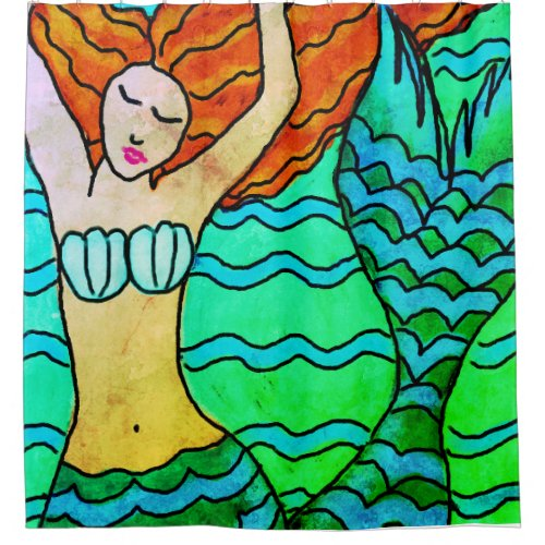 Mermaid with Orange Hair Abstract Art Shower Curtain