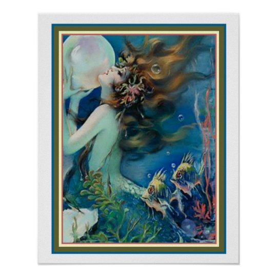 mermaid with pearl art deco by henry clive 16x20 poster zazzle com