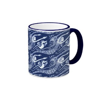 Mermaid with Pearls and Seahorse Ringer Coffee Mug