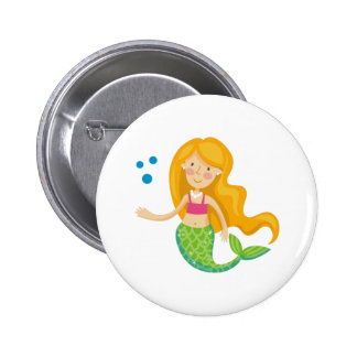 Mermaid With Pearls Pinback Button