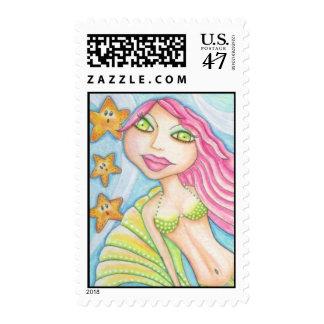 Mermaid with Pink Hair Postage