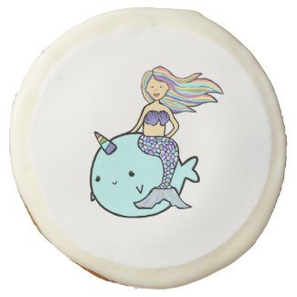 Mermaid with Rainbow Hair riding her Pet Narwhal Sugar Cookie