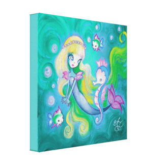 Mermaid With Sea Horse And Fish Canvas Print