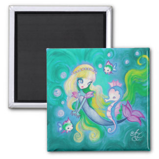 Mermaid With Sea Horse And Fish Magnets