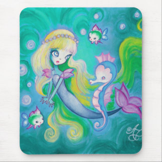 Mermaid With Sea Horse And Fish Mouse Pad