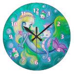 Mermaid With Sea Horse And Fish Wall Clock
