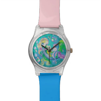Mermaid With Sea Horse And Fish Wristwatches