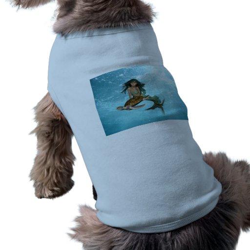 Mermaid with Sea Turtle  Pet Shirt