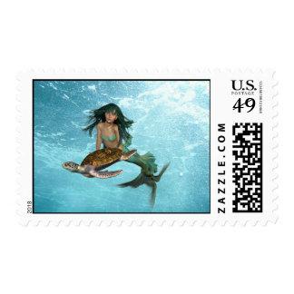 Mermaid with Sea Turtle Postage Stamp