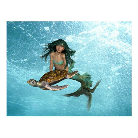 Mermaid with Sea Turtle  Postcard