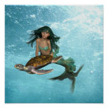 Mermaid with Sea Turtle Poster
