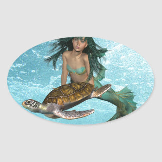 Mermaid with Sea Turtle  Stickers