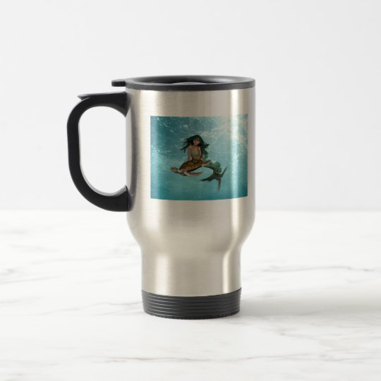 Mermaid with Sea Turtle Travel Mug