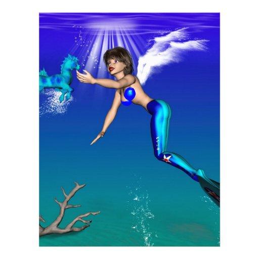 Mermaid with seahorse custom letterhead
