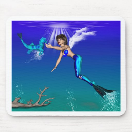 Mermaid with seahorse mouse pads
