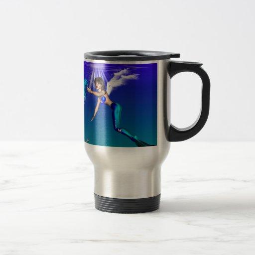 Mermaid with seahorse coffee mugs