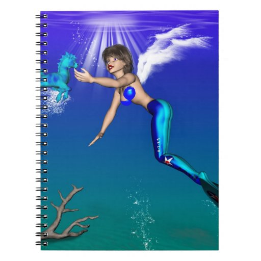 Mermaid with seahorse notebooks