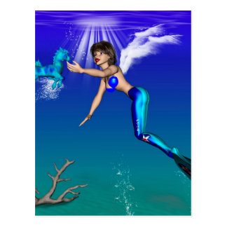 Mermaid with seahorse post cards