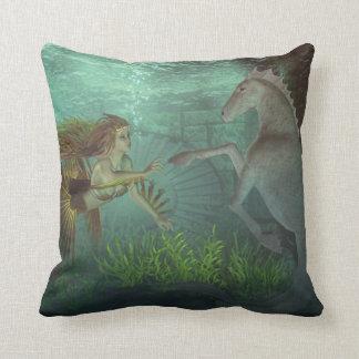 mermaid with seahorse throw pillow