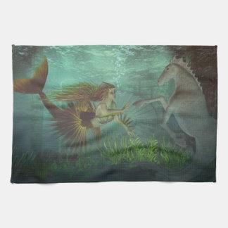 mermaid with seahorse towel