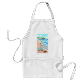 Mermaid With Seashell Turtle and Dolphins Adult Apron
