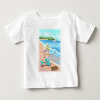 Mermaid With Seashell Turtle and Dolphins Baby T-Shirt