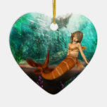 Mermaid with Shipwreck Double-Sided Heart Ceramic Christmas Ornament