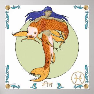 Mermaid Zodiac Print - Pisces