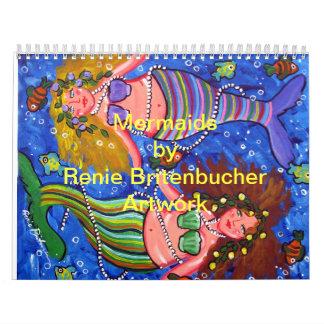 Mermaids 2014 Calendar Colorful Folk Art