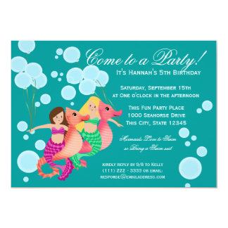 Mermaids and Balloons Swim Party 5x7 Paper Invitation Card