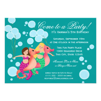Mermaids and Balloons Swim Party Personalized Announcement