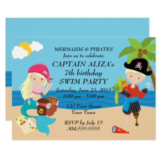 Mermaids and Pirates Birthday Party Card