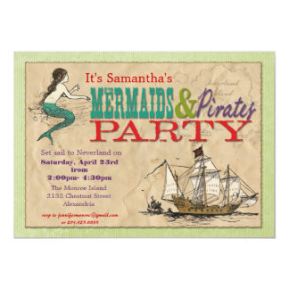 "Mermaids and Pirates Party Invitation 5"" X 7"" Invitation Card"