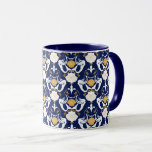 Mermaids and Seashells Damask Pattern Mug