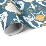 Mermaids and Seashells Damask Pattern Wrapping Paper