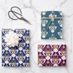 Mermaids and Seashells Damask Pattern Wrapping Paper Sheets