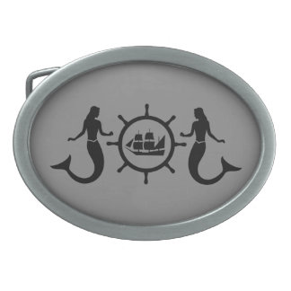 Mermaids and Ship Nautic Blazon Oval Belt Buckle