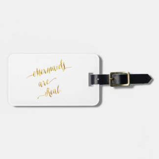 Mermaids Are Real Quote Gold Faux Foil White Bag Tag