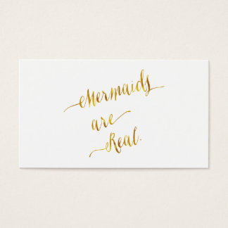Mermaids Are Real Quote Gold Faux Foil White Business Card