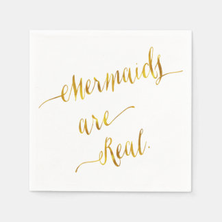 Mermaids Are Real Quote Gold Faux Foil White Paper Napkin