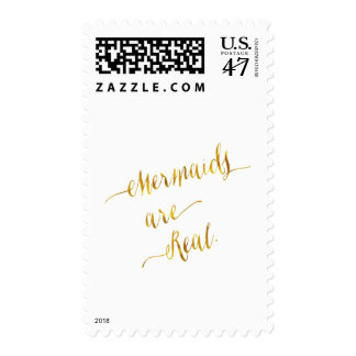 Mermaids Are Real Quote Gold Faux Foil White Postage