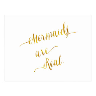 Mermaids Are Real Quote Gold Faux Foil White Postcard