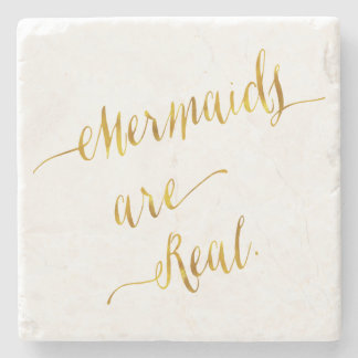 Mermaids Are Real Quote Gold Faux Foil White Stone Coaster