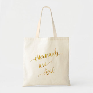 Mermaids Are Real Quote Gold Faux Foil White Tote Bag