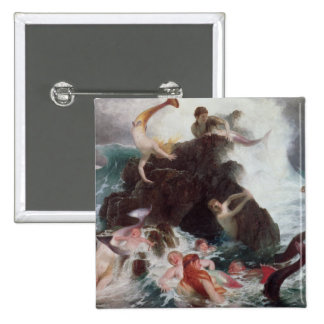 Mermaids at Play, 1886 (oil on canvas) 2 Inch Square Button