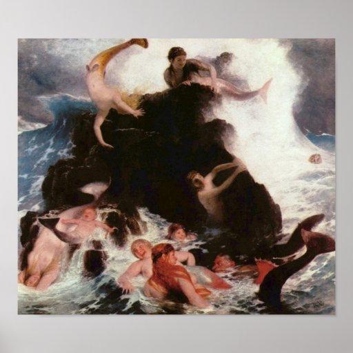 Mermaids At Play Poster