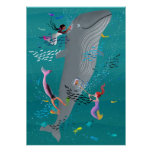 Mermaids attending to a whale and cleaning the oce poster