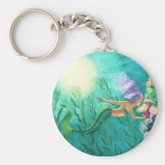 Mermaids Beautiful Sea Garden Basic Round Button Keychain